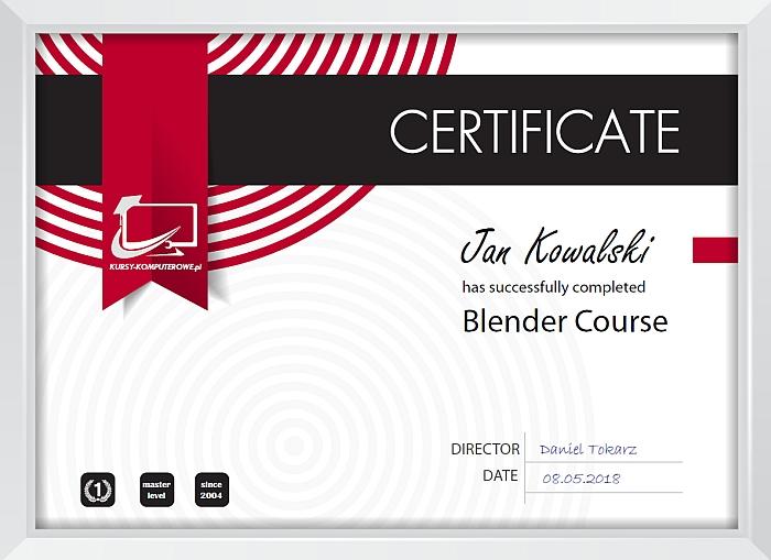 Certyfikat Blender