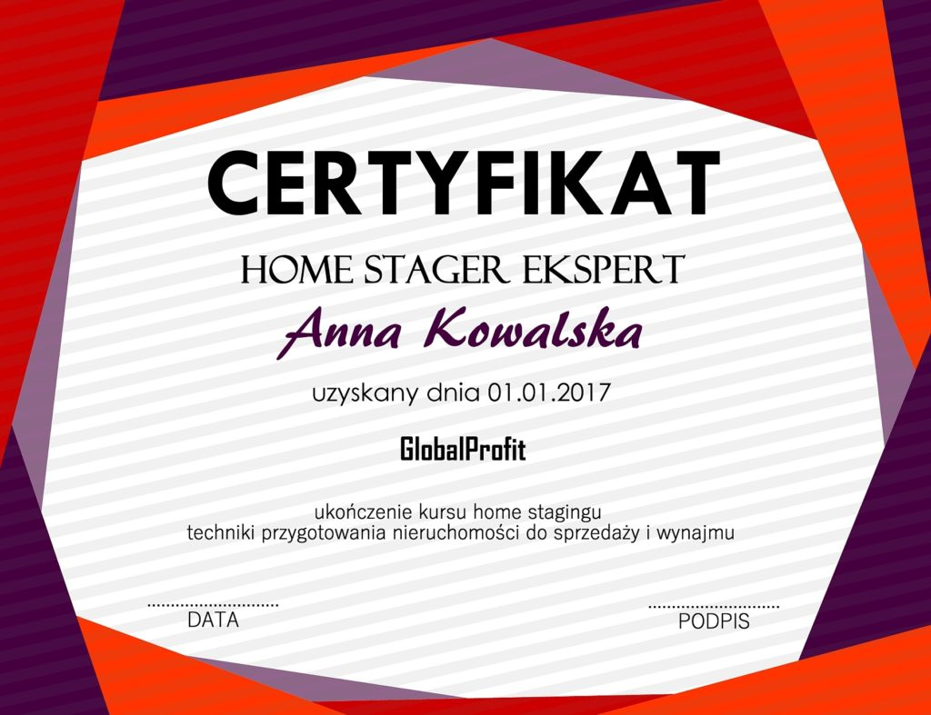 Certyfikat Home Staging