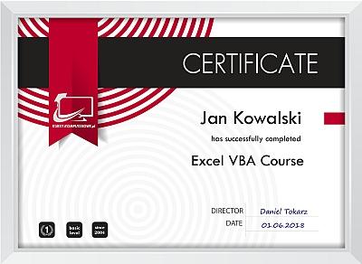 certyfikat Excel VBA