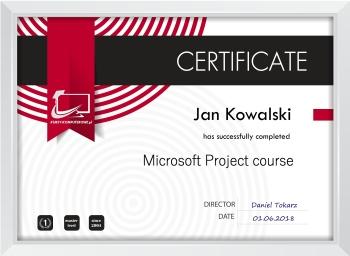 Certyfikat Microsoft Project