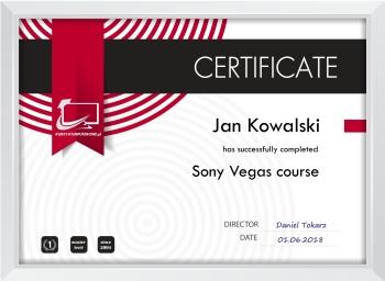Certyfika Sony Vegas